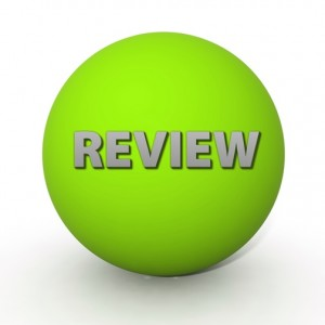 Review circular icon on white background