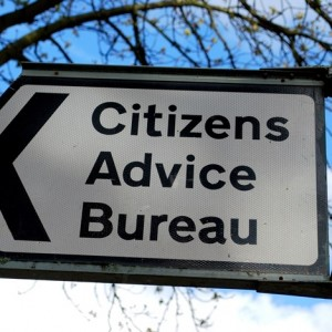 Close-up of Citizens Advice Bureau sign