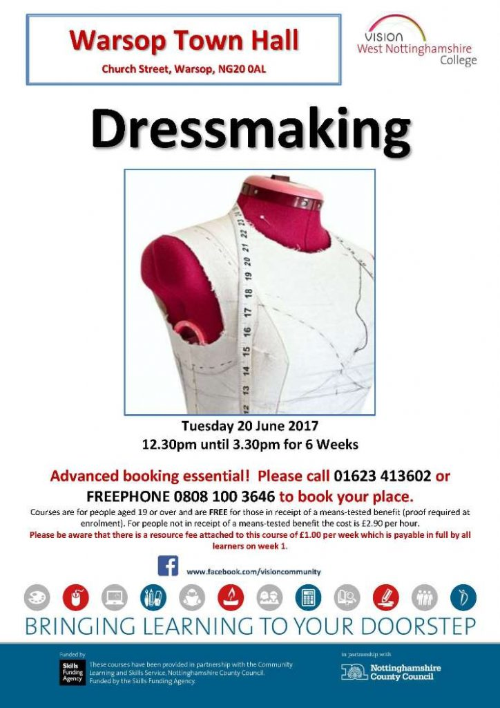 Warsop Town Hall- Dressmaking June17